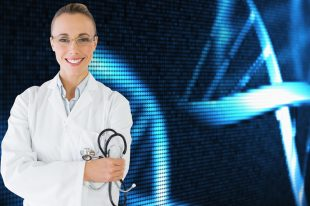 Female doctor with stethoscope against medical background